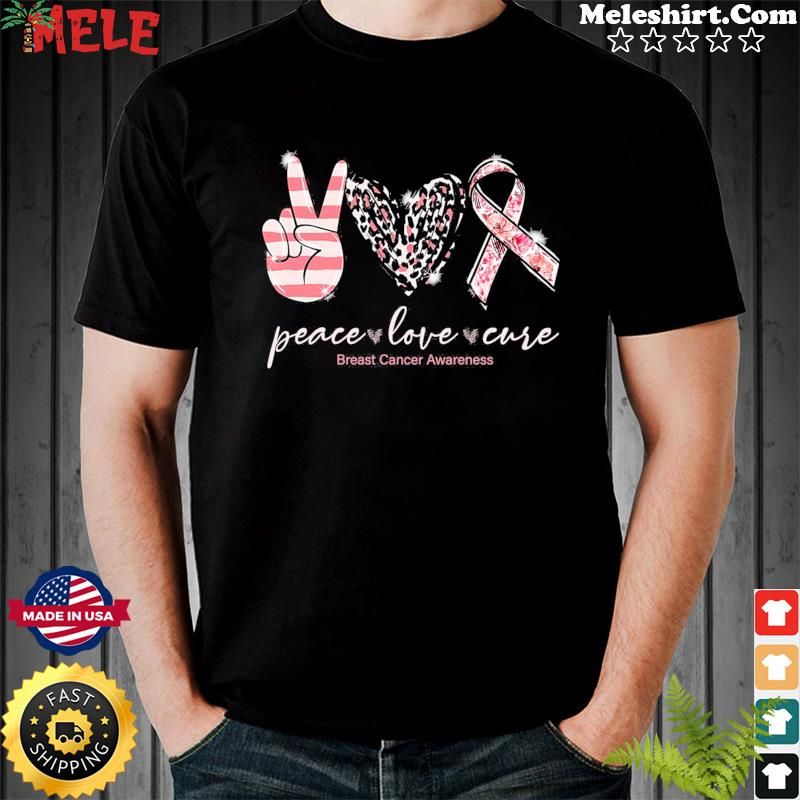 Official Peace Love Cure Breast Cancer Awareness Shirt
