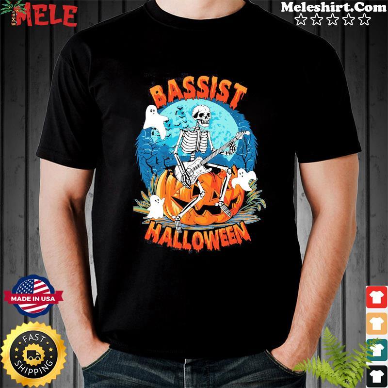 Skeleton Play Guitar Bassist Halloween Shirt