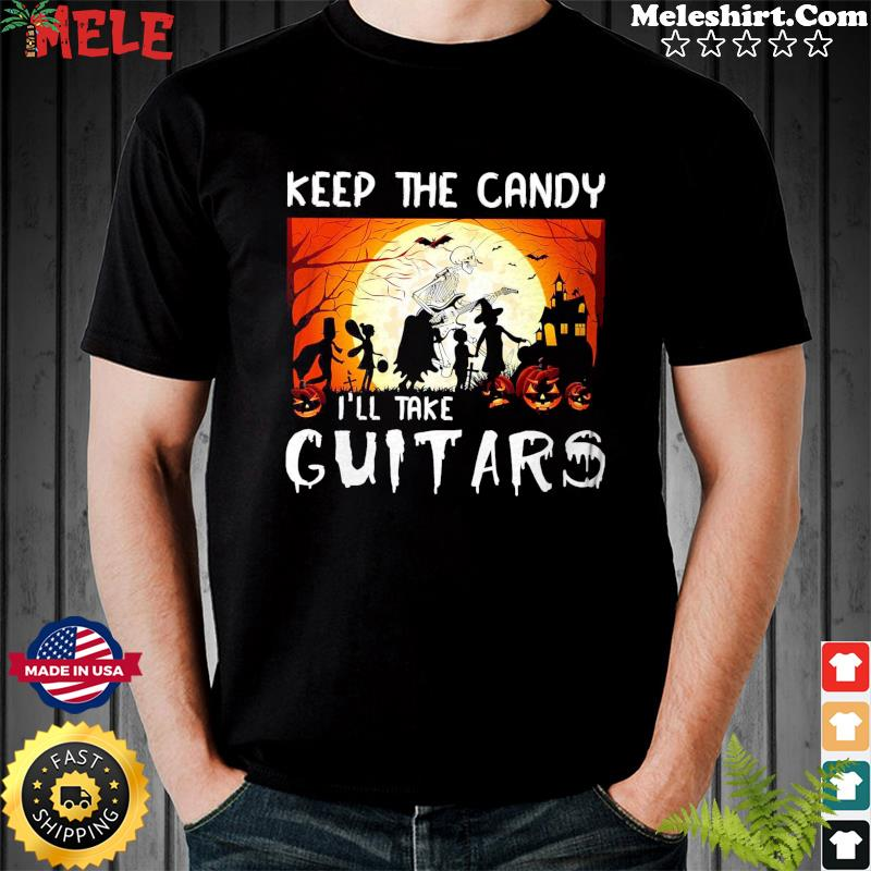 Zombie Playing Guitar Keep The Candy I'll Take Guitar Halloween Shirt
