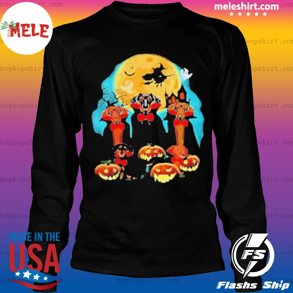 Dachshund Dracula Pumpkin Moonlight Happy Halloween s LongSleeve