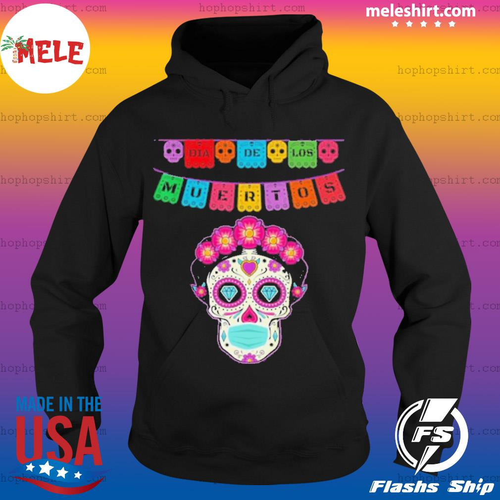 Floral Sugar Skull Face Mask Day of the Dead Dia De Muertos s Hoodie