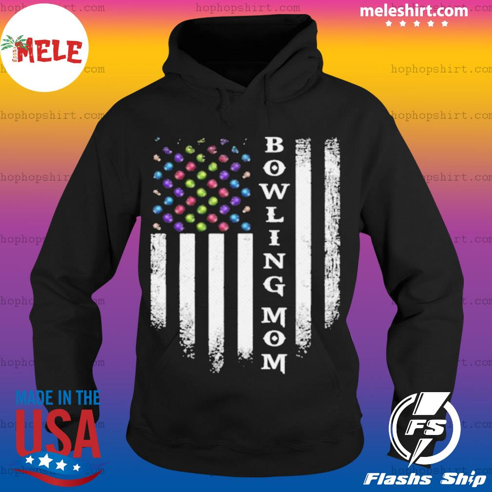 Vintage USA American Flag Bowling Mom Bowler Distressed s Hoodie
