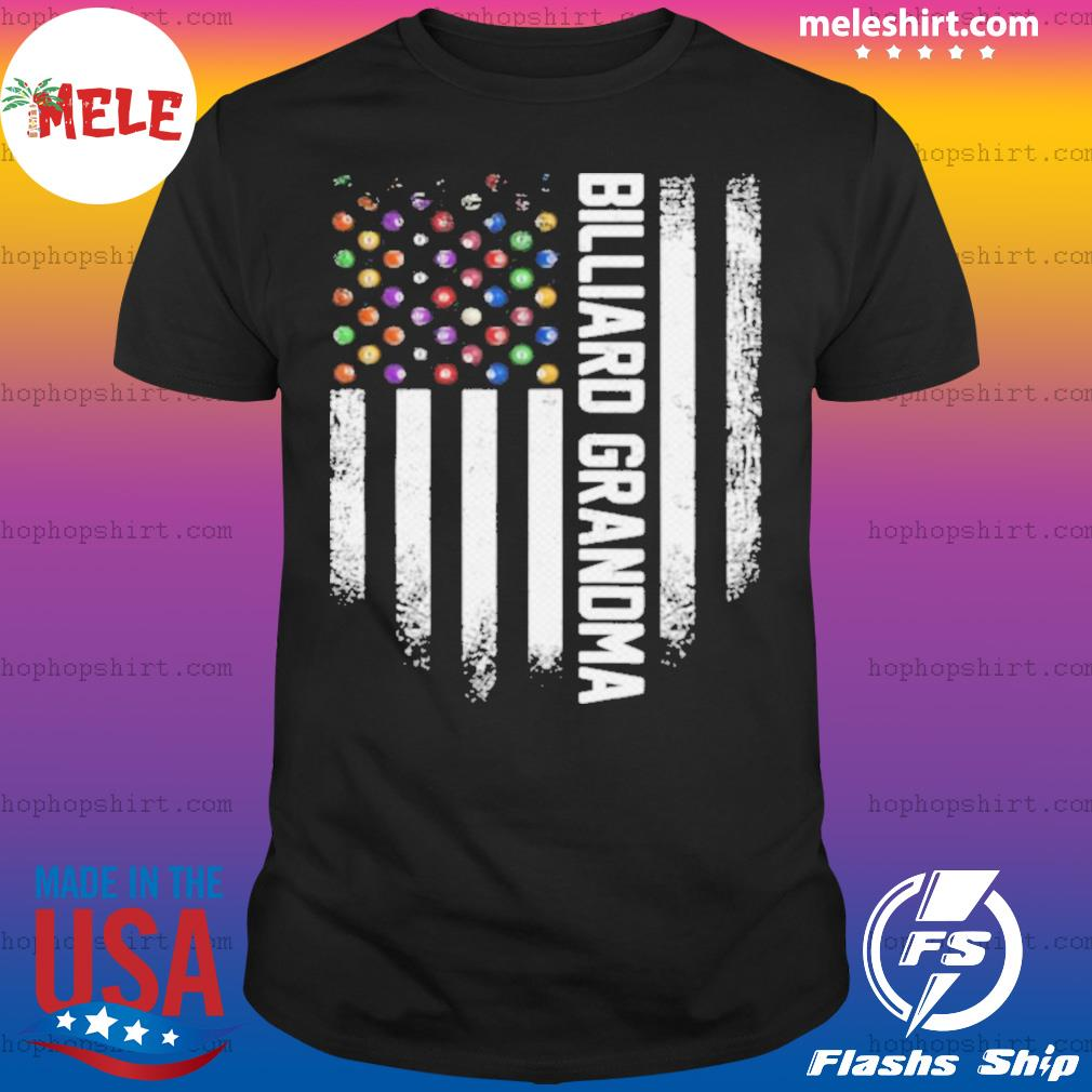 Vintage USA American Flag Pool Billiard Snooker Grandma shirt
