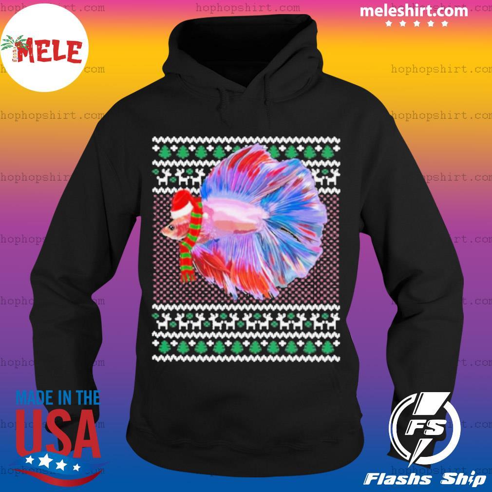 Xmas Santa Hat Betta Fish Ugly Christmas s Hoodie