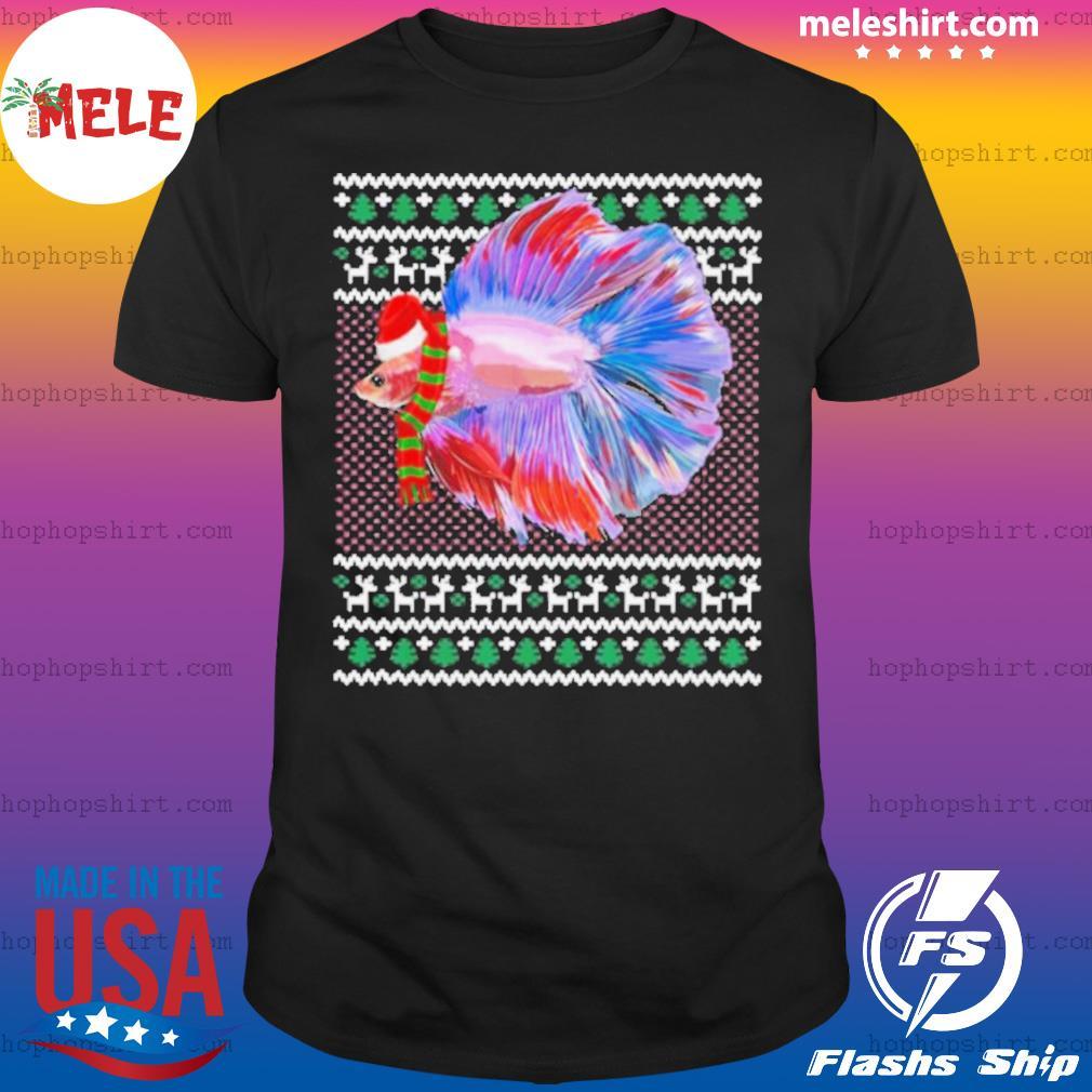 Xmas Santa Hat Betta Fish Ugly Christmas shirt