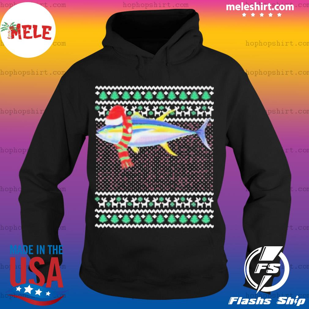 Xmas santa hat yellowfin tuna s Hoodie