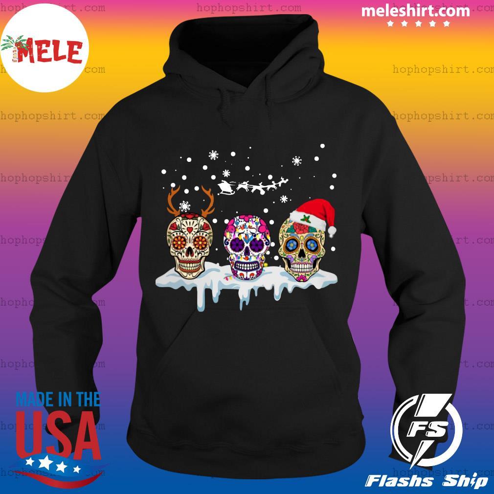 Sugar Skull Reindeer Santa Christmas Sweats Hoodie