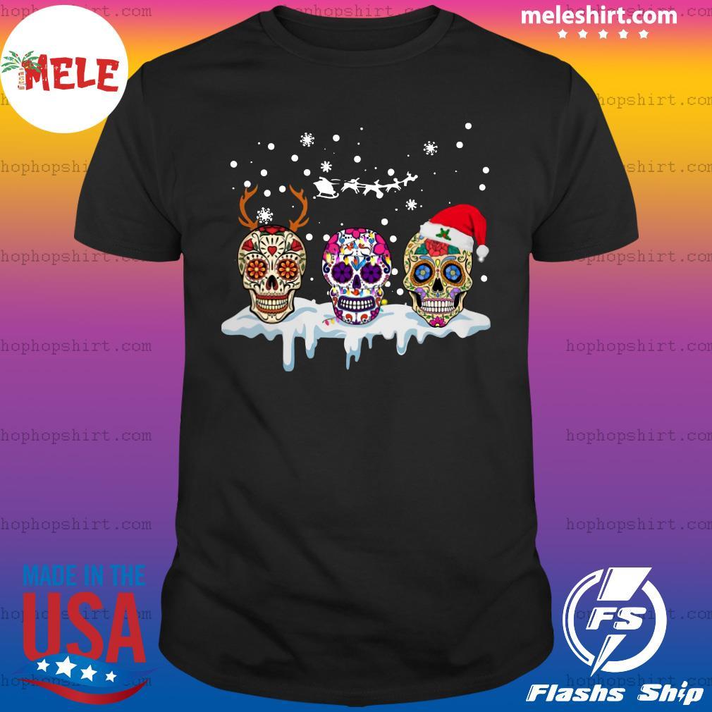 Sugar Skull Reindeer Santa Christmas Sweats Shirt
